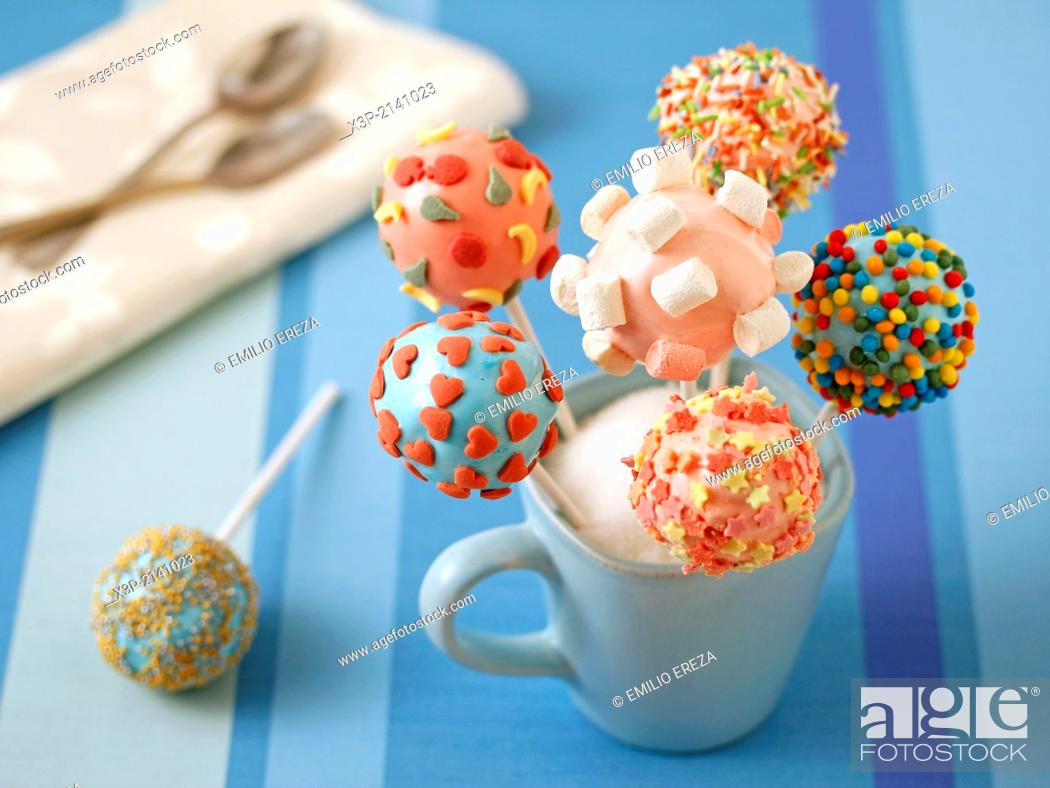 Stock Photo: Marshmallow cake pops.