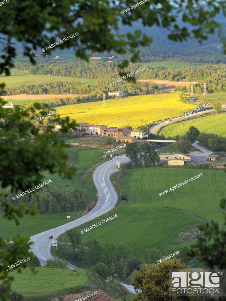 """Stock Photo: C62 regional highway, called """"""""Eix del Lluçanès"""""""", seen from Prats del Lluçanès neighborhood, passing by Santa Creu de Jutglar village."""