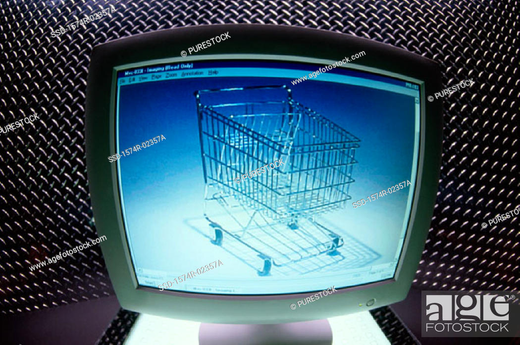 Stock Photo: Shopping cart displayed on a computer monitor.