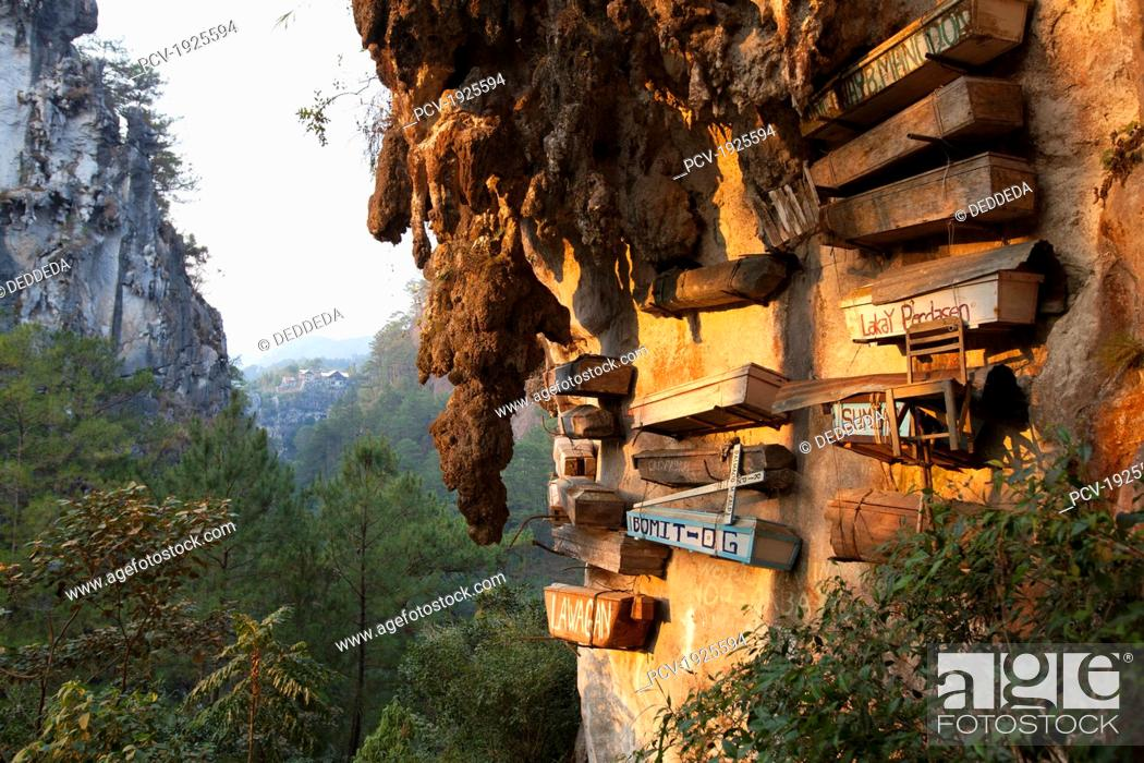 Stock Photo: the famous hanging coffins rest high on the limestone cliffs in echo valley near the mountain village of sagada, in the cordillera region, north luzon.