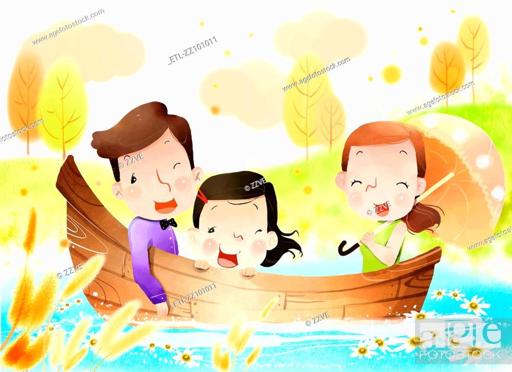 Stock Photo: Family on boat.