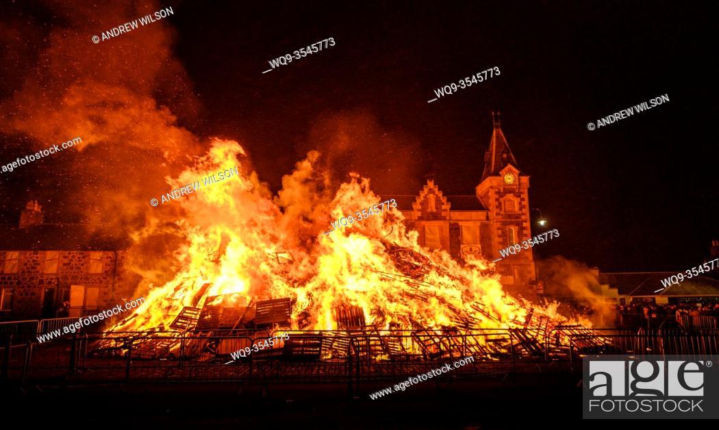 Stock Photo: The hogmanay bonfire in the South Lanarkshire town of Biggar, Scotland.