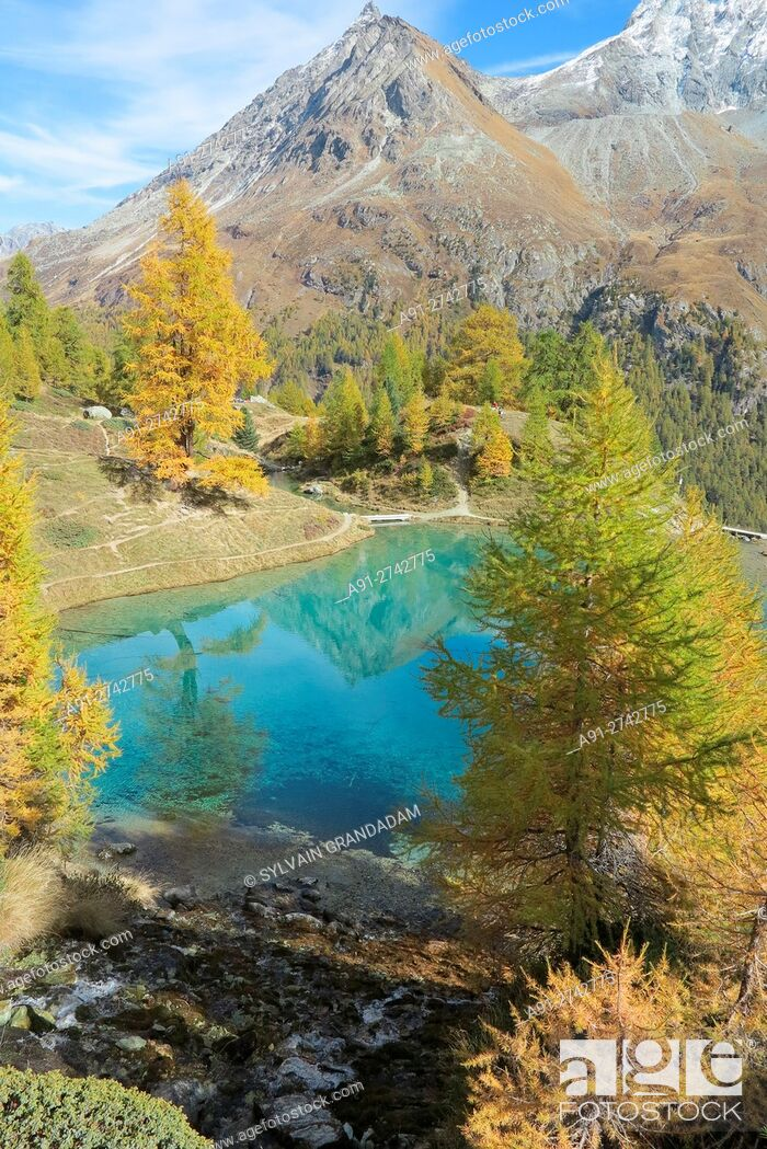 "Stock Photo: Switzerland, Valais, Val d'Herens, village of Evolene and surroundings at fall, La Gouille, the """"blue lake""""."