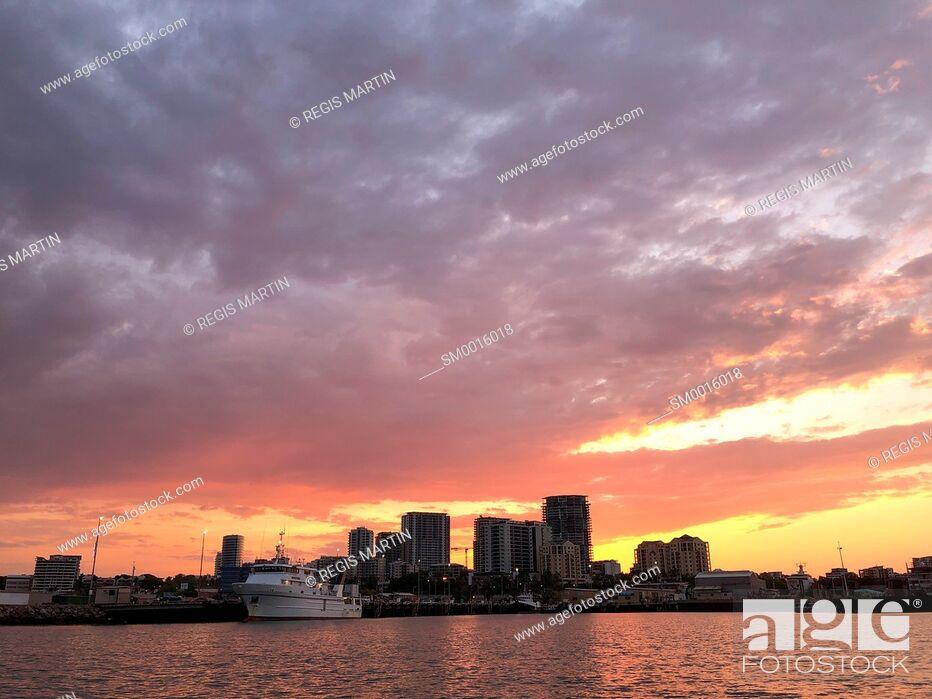 Stock Photo: Darwin City skyline at sunset. Darwin is the capital of the Northern Territory of Australia.