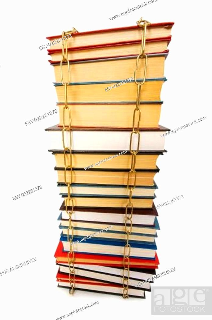 Photo de stock: Censorship concept with books and chains on white.