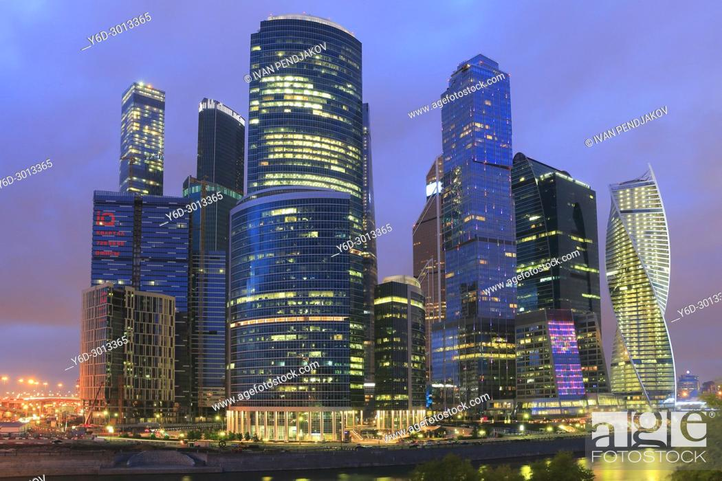 Imagen: Moscow International Business Center at Dusk, Russia.