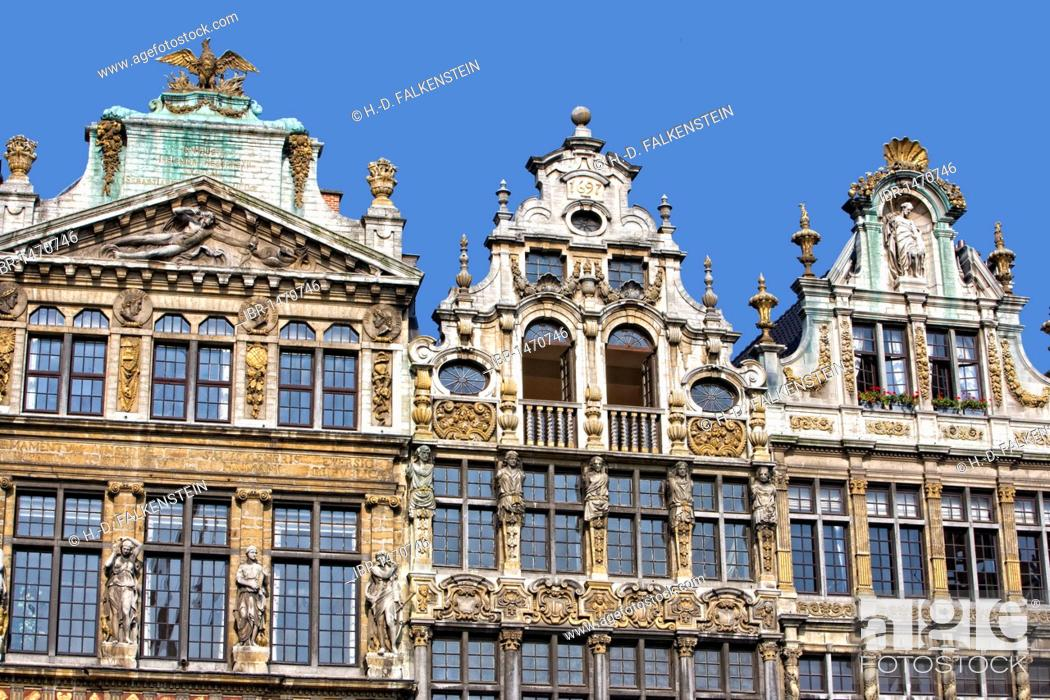Stock Photo: Facades and gables of the guildhalls on the Grote Markt, Grand Place, Brussels, Belgium, Europe.