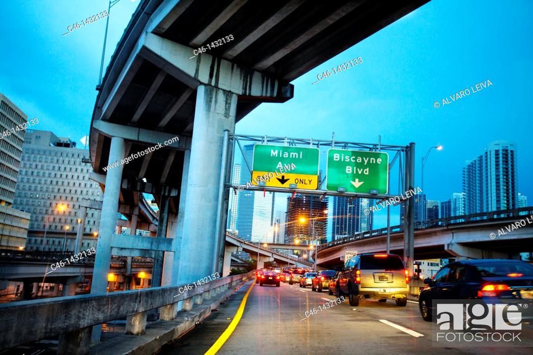 Stock Photo: Hiway, Downtown, Miami, Florida, USA.
