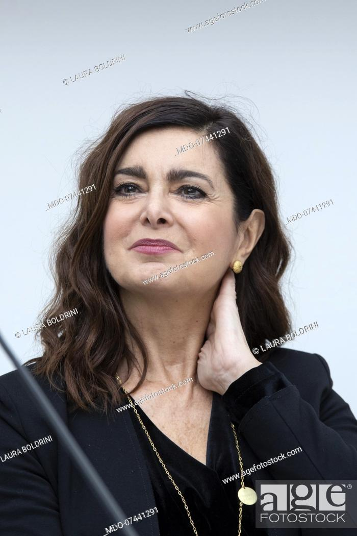 Stock Photo: Italian politics Laura Boldrini during the presentation of the book La grande nemica. Il caso Boldrini in Mondadori Duomo.