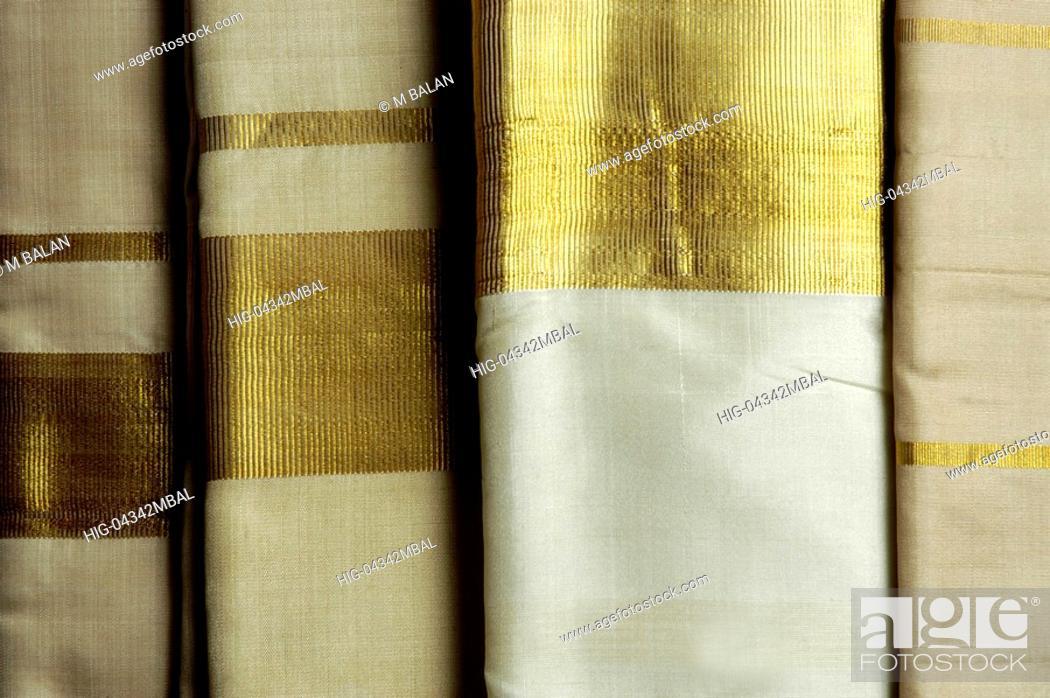 Stock Photo: HANDLOOM SAREES FOR HANDLOOM WEAVERS OF BALARAMAPURAM NEAR TRIVANDRUM.