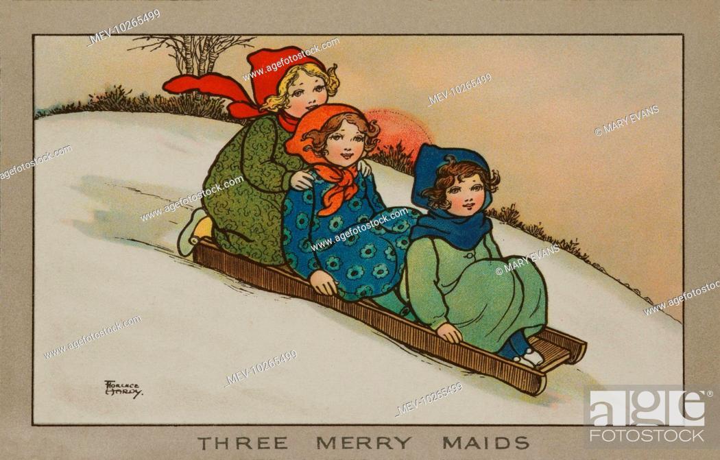 Three Merry Maids  Three little girls sliding down a hill on