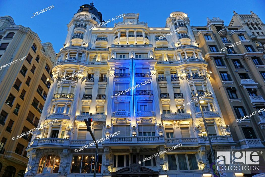 Stock Photo: Hotel Atlantico. Gran Via. Madrid, Spain, Europe.