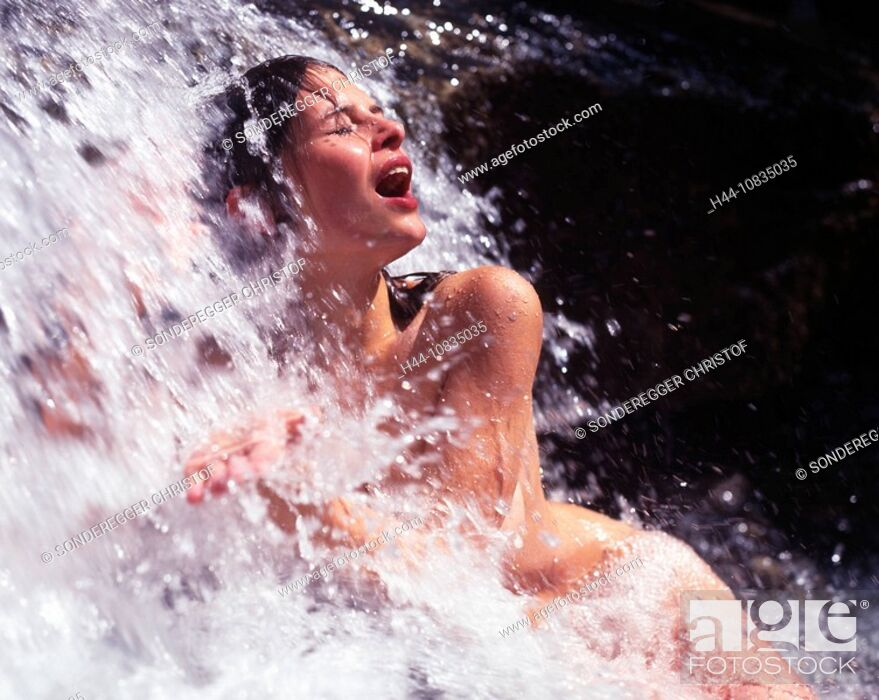 Stock Photo: Woman, naked, nude, outdoor, outdoors, bathing, waterfall, water, brook, stream, creek, bath, wellness, recreation, na.