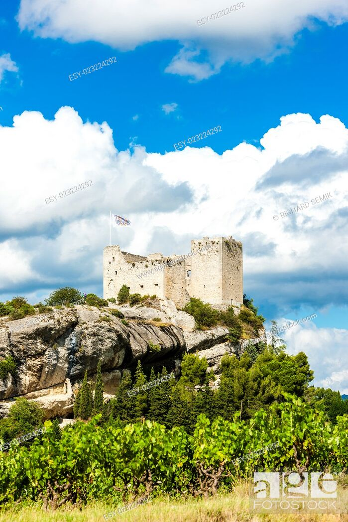 Stock Photo: ruins of castle in Vaison-la-Romaine with vineyard, Provence, France.