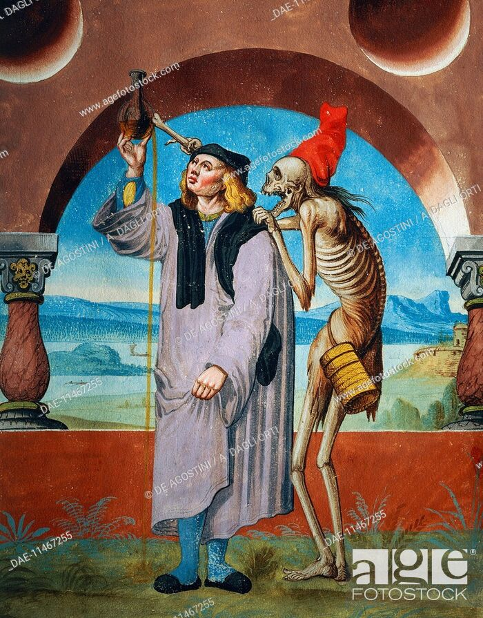 Imagen: Death with the Doctor, detail of Death, the Lawyer and the Doctor, 1649, watercolour from the Dance of Death cycle, by Albrecht Kauw (1621-1681).