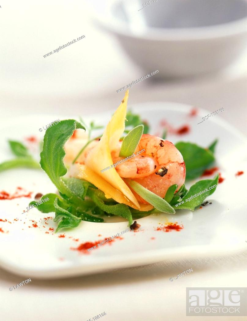 Stock Photo: Gambas and cod with ice plant.