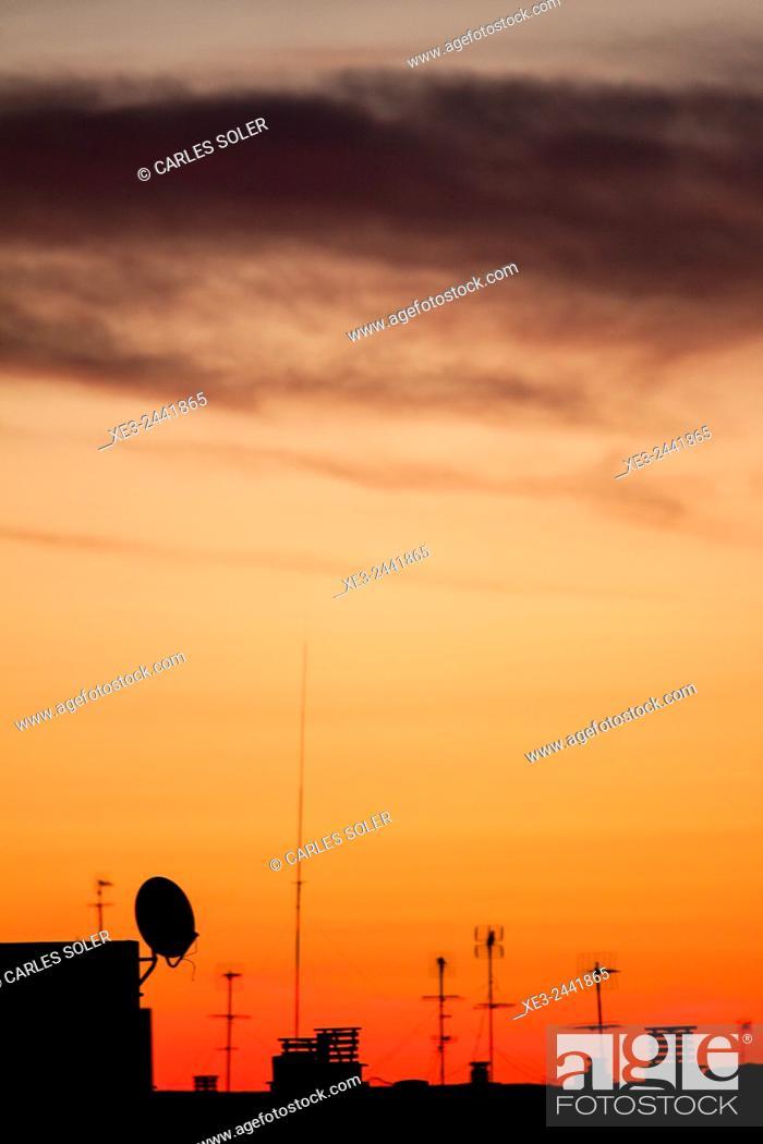 Stock Photo: Television antennas.
