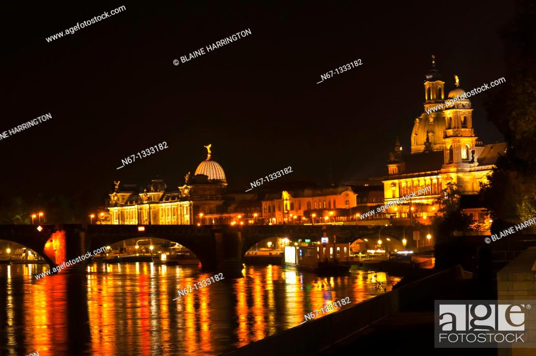 Stock Photo: Views along the Elbe River of the old city in Dresden, Saxony, Germany.
