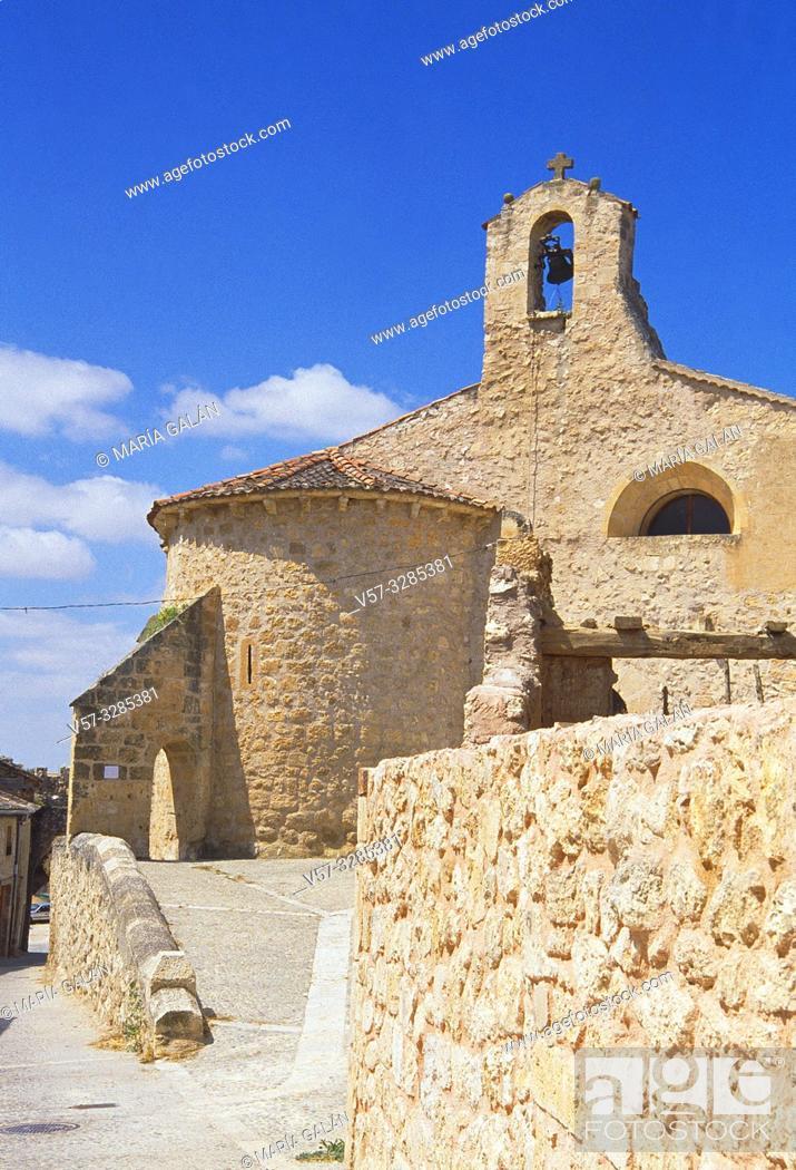 Stock Photo: San Miguel church. Maderuelo, Segovia province, Castilla Leon, Spain.
