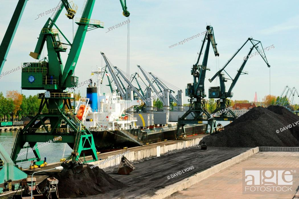 Stock Photo: Poland. Port of Gdansk dock facilities. Freighter cargo vessel loading Polish coal at Rudowe Quay in the Gorniczy Basin.