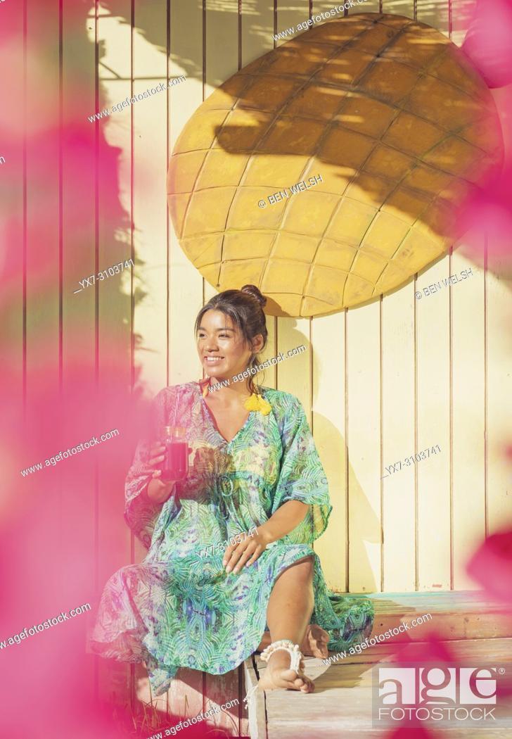 Stock Photo: Exotic woman. Tarifa, Costa de la Luz, Cadiz, Andalusia, Spain.