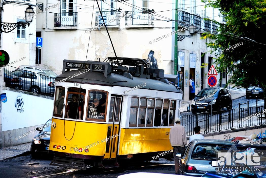 Stock Photo: Streetcar in Alfama, Lisbon, Portugal.