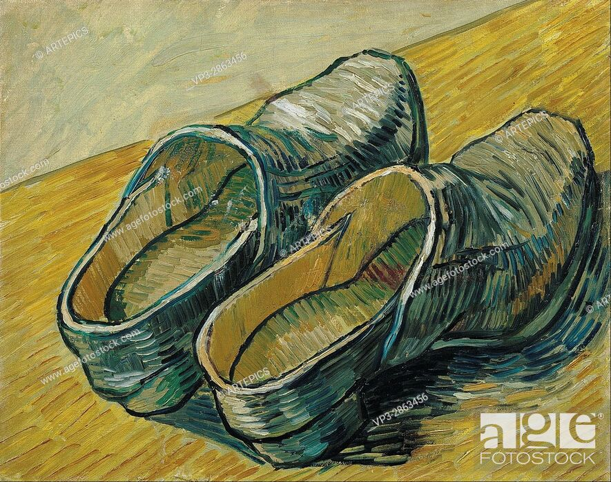 Stock Photo: Vincent van Gogh - A pair of leather clogs - Van Gogh Museum, Amsterdam.