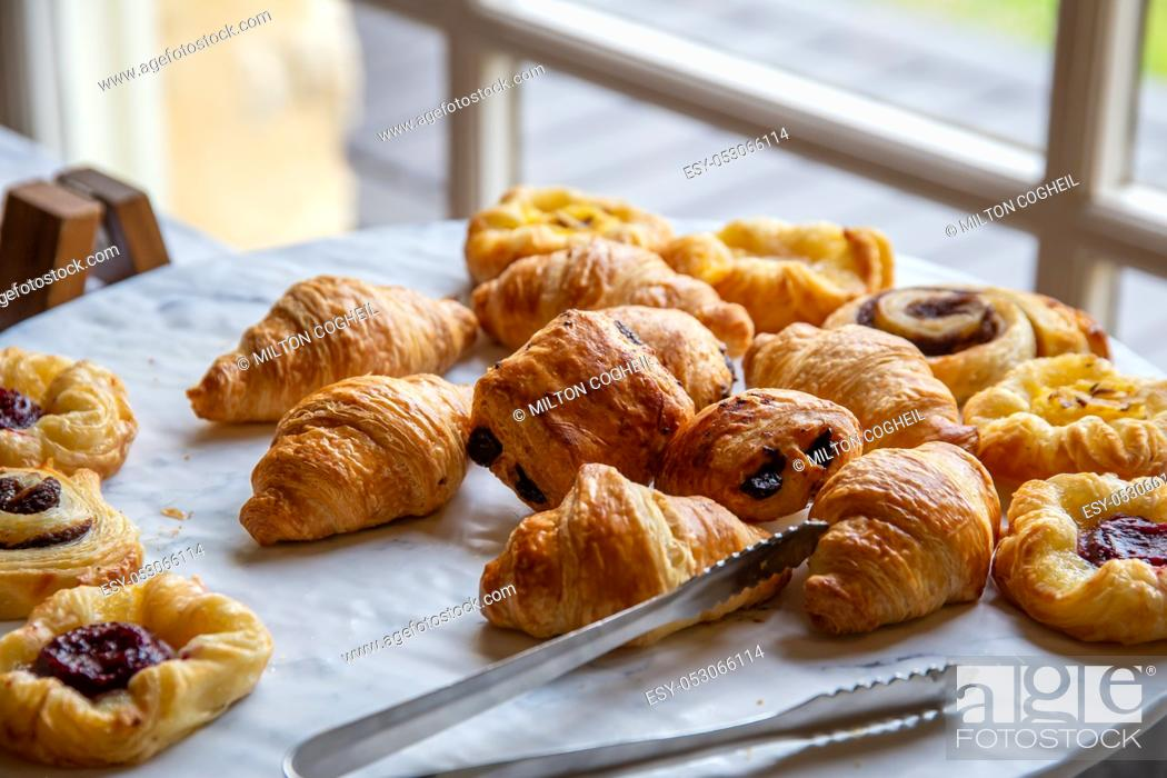 Stock Photo: Assortment of french baked breakfast pastries.