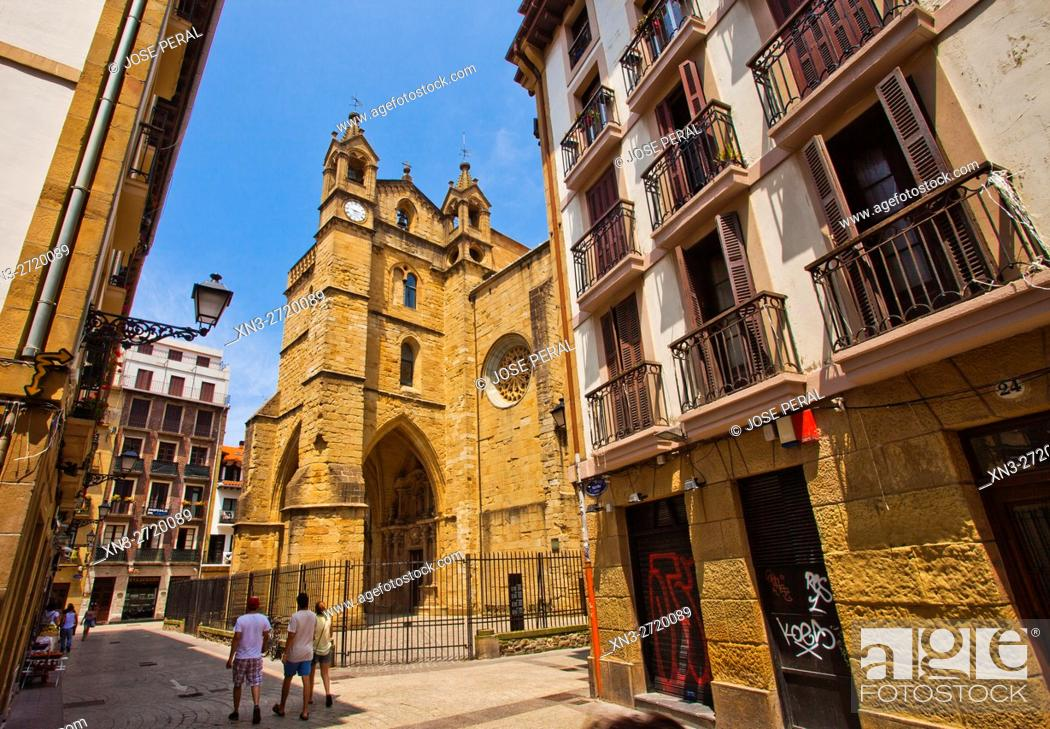 Stock Photo: San Vicente Church, view from Narrika street, San Sebastian, Guipuzcoa province, Basque Country, Euskadi, Spain, Europe.