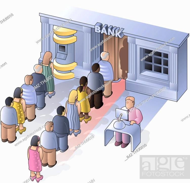 Stock Photo: People lining up to use the bank machine.