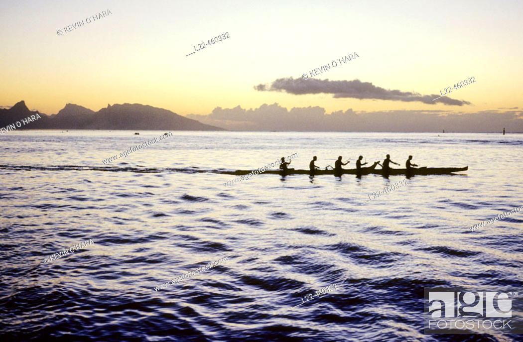 Stock Photo: Pirogue at sunset. Tahiti Island. the Society Islands. French Polynesia. Pacific.