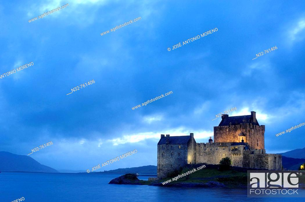 Stock Photo: Eilean Donan castle and Loch Duich at Dusk  Dornie  Highlands Region, Scotland, UK.
