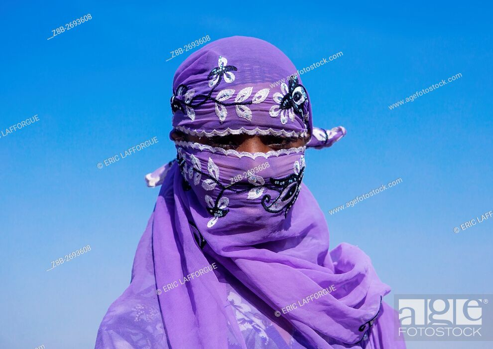 Stock Photo: Ethiopia, Amhara Region, Artuma, portrait of an oromo woman in blue veil.