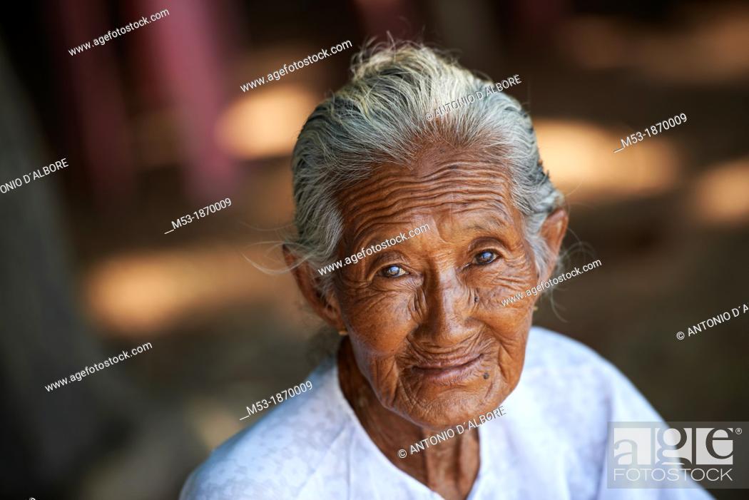 Stock Photo: Portrait of an elderly burmese woman  Kyauktan town  Thanlyin District, Yangon Division  Myanmar.