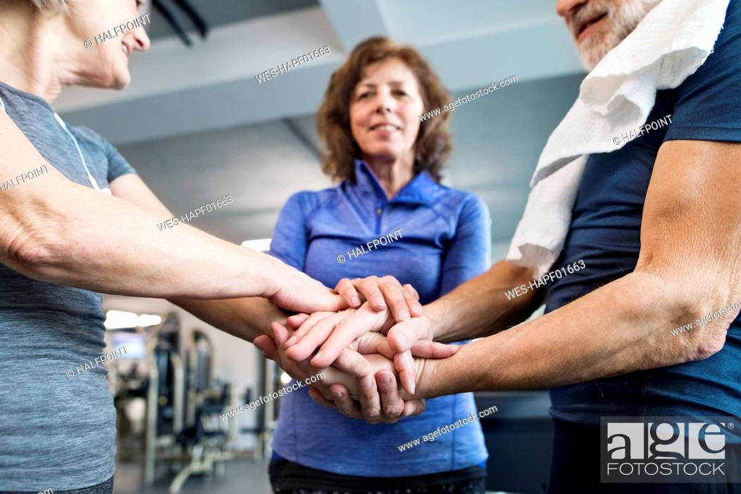 Stock Photo: Group of fit seniors stacking hands in gym.