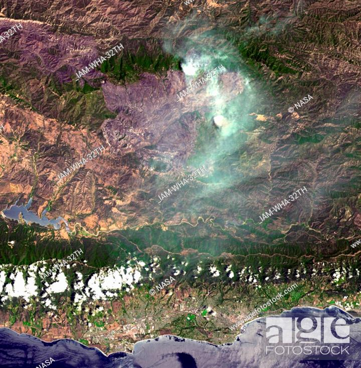 Stock Photo: On August 7, 2007, the Zaca fire continued to burn in the Los Padres National Forest near Santa Barbara, California. Satellite image.