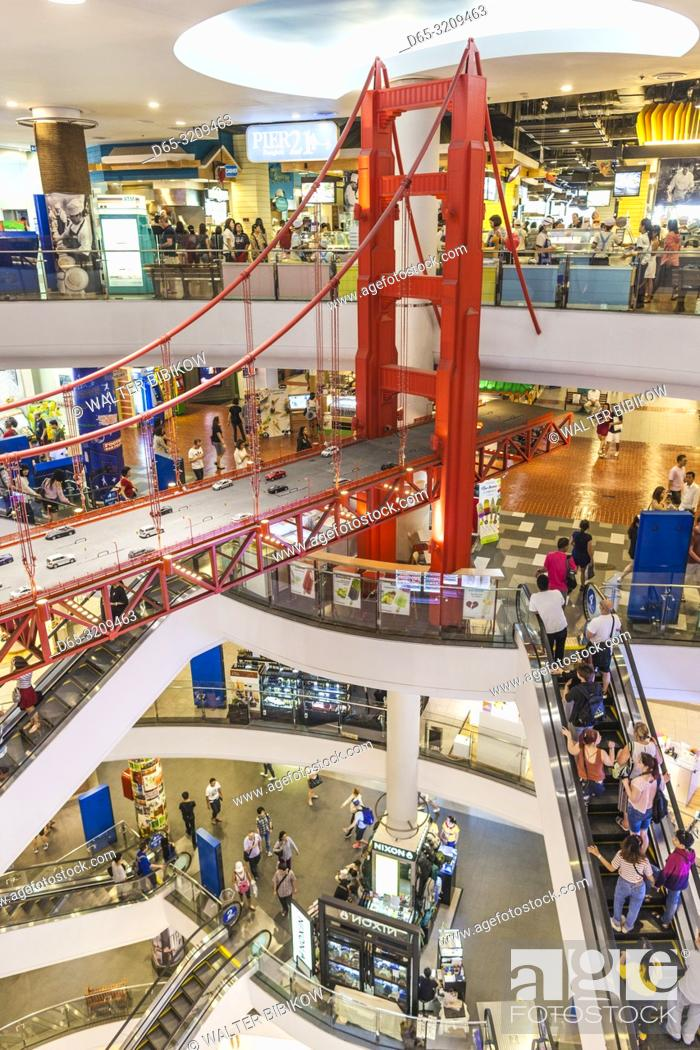 Stock Photo: Thailand, Bangkok, Sukhumvit Area, Terminal 21 shopping mall, world themed mall, Golden Gate Bridge in food court.