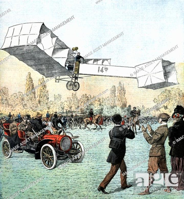 Stock Photo: Alberto Santos-Dumont 1873-1932 Brazilian aviation pioneer: aeroplanes and dirigibles  Santos-Dumont flying his plane in the Bois du Boulogne.