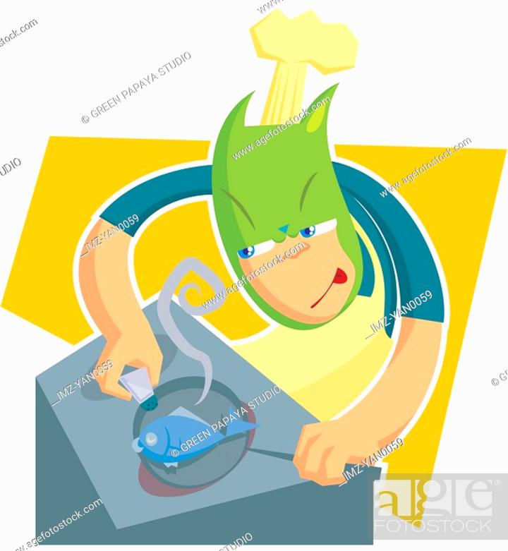 Stock Photo: An illustion of a cook frying a fish.