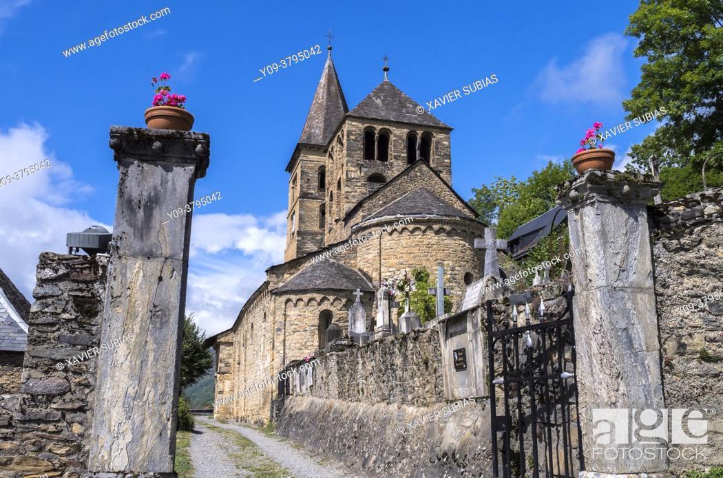 Stock Photo: Church of Saint-Aventin-de-Larboust, Saint-Aventin, Haute-Garonne department, Occitanie, France.