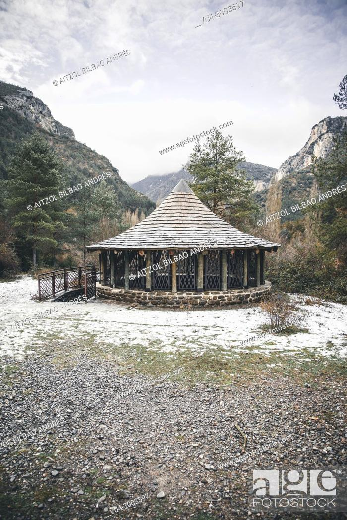 Stock Photo: Medieval snowfield in Burgui, Navarra, Basque Pyrenees. Roncal valley is a must seen place if you come to the Basque country.