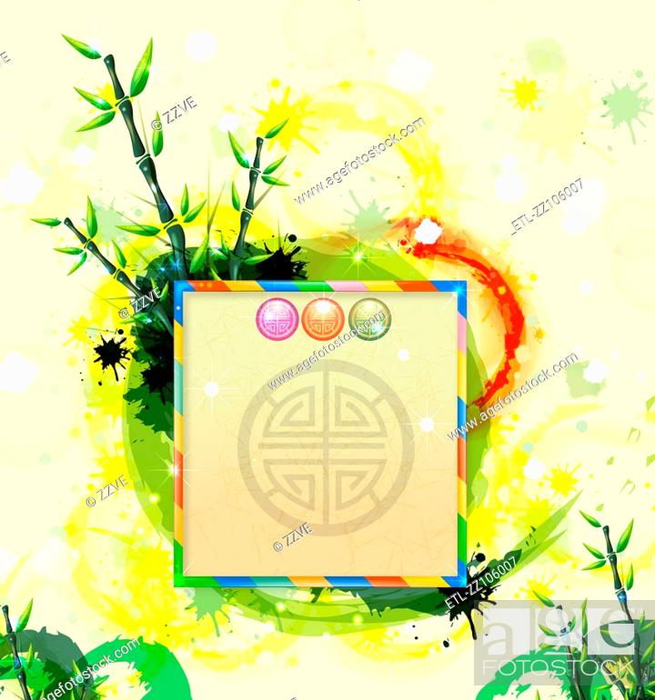 Stock Photo: Chinese card with bamboo.