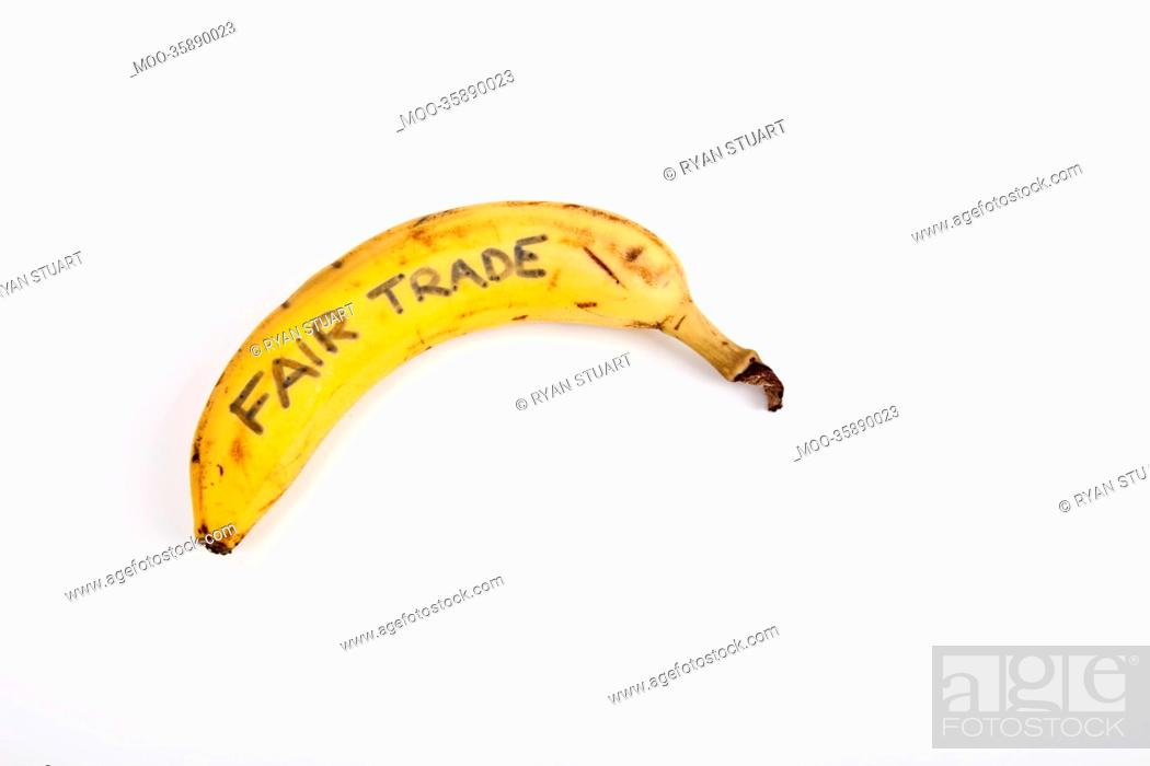Stock Photo: Banana against white background.