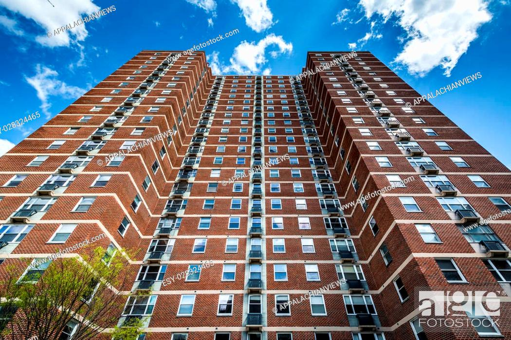 Stock Photo: Highrise apartment building in Mount Vernon, Baltimore, Maryland.