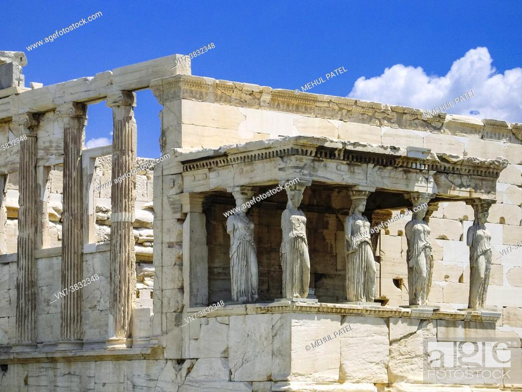 Stock Photo: The Porch of Maidens on the south side of the temple of Erechtheion on the Acropolis - Athens, Greece.