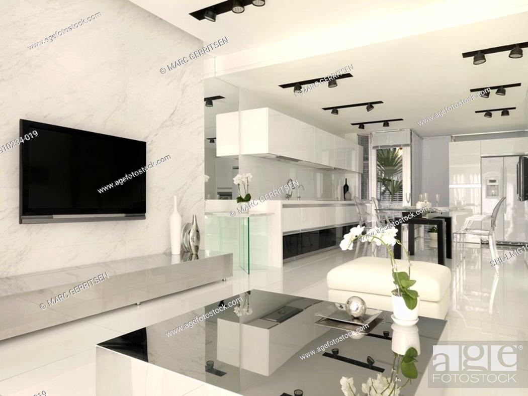Stock Photo: Living room kitchen and dining area in modern home.