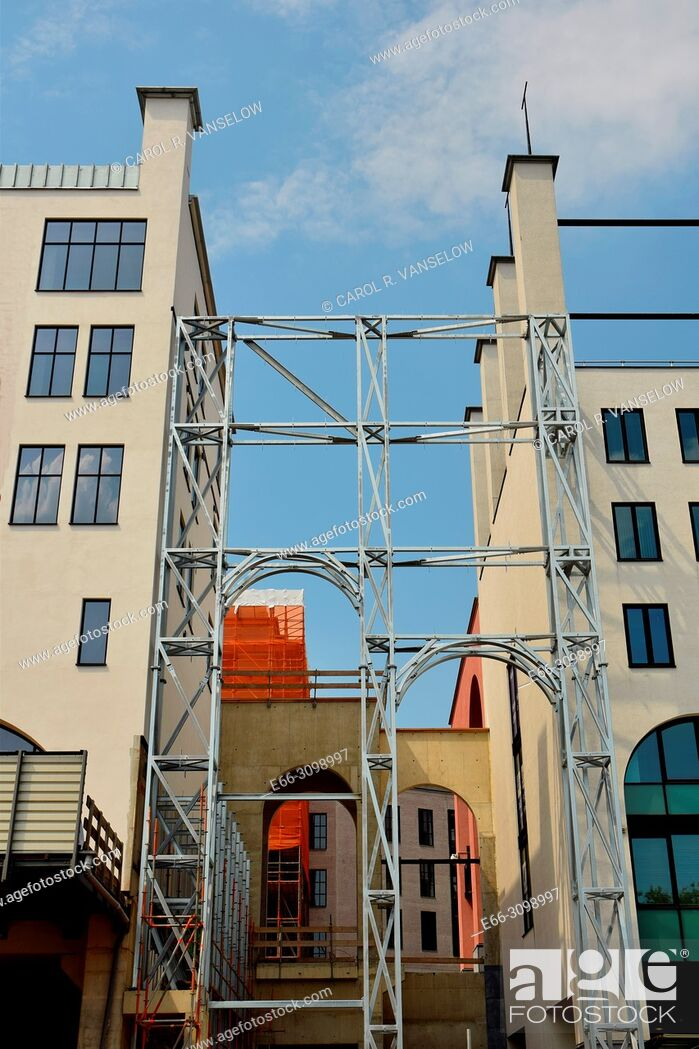 Stock Photo: The Maankwartier is a building complex in Heerlen, Limburg. The construction was begon about 10 years ago and there seems to be no end in sight.
