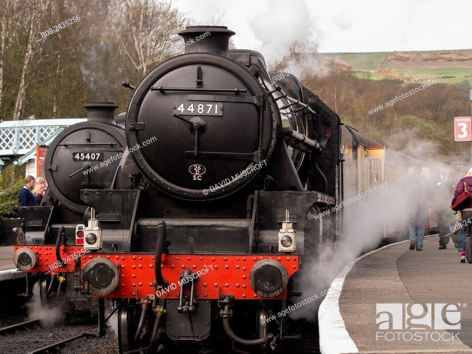 Stock Photo: vintage steam locomotive 44871 LMS at Grosmont station, on The North Yorkshire Moors Railway, Yorkshire, UK.