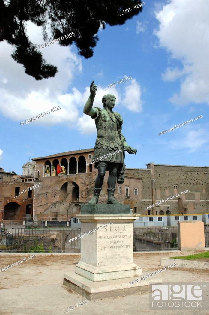 Stock Photo: Trajan's monument at front of the forum in Rome.
