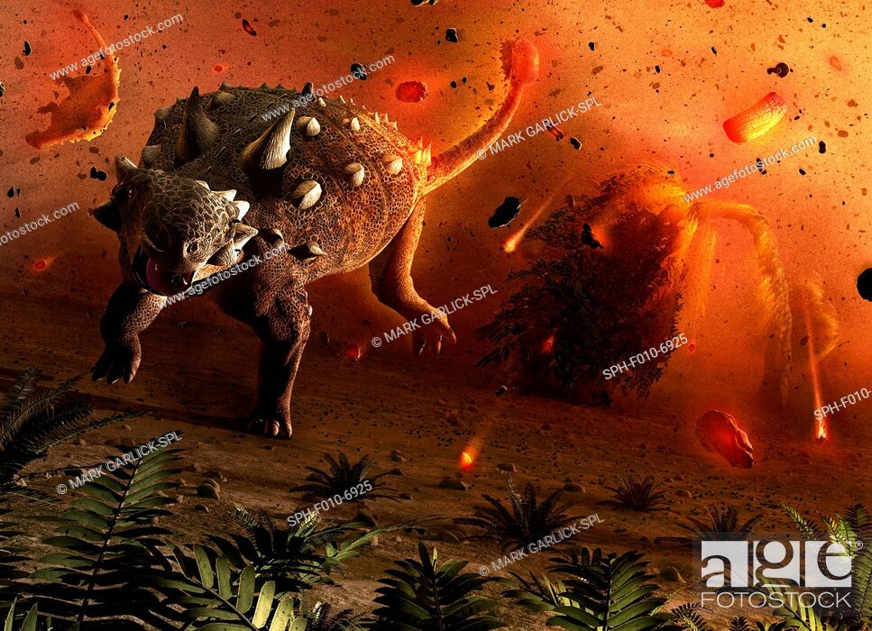 Photo de stock: Artwork showing dinosaurs caught in the aftermath of an asteroid impact. The dinosaurs were wiped out 65 million years ago.